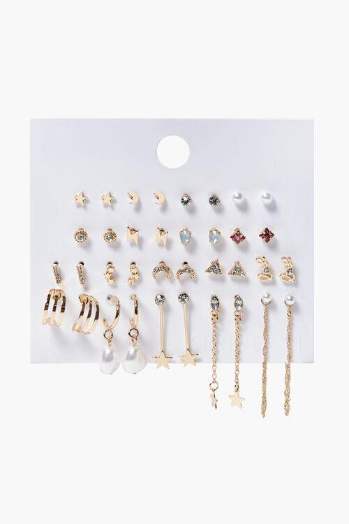 GOLD Variety Stud & Drop Earrings Set, image 1