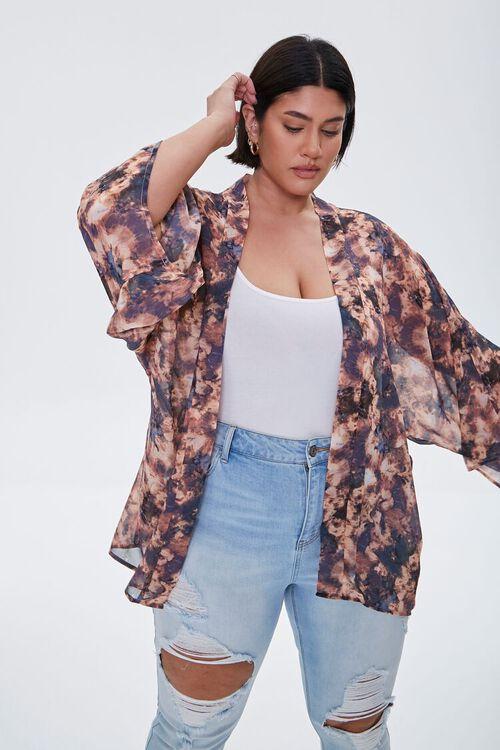 Plus Size Abstract Print Chiffon Kimono, image 1