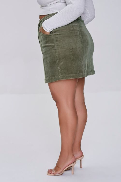 Plus Size Buttoned Corduroy Skirt, image 3