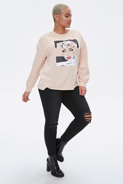 Plus Size Flower Crown Graphic Pullover, image 4