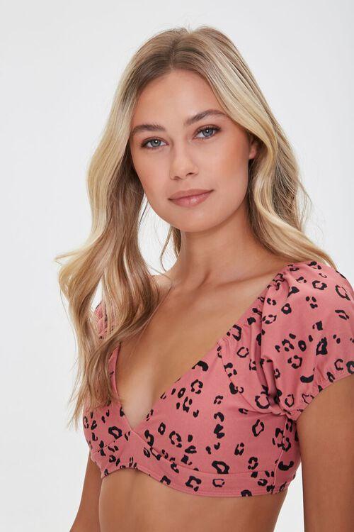 Leopard Print Puff Sleeve Bikini Top, image 1