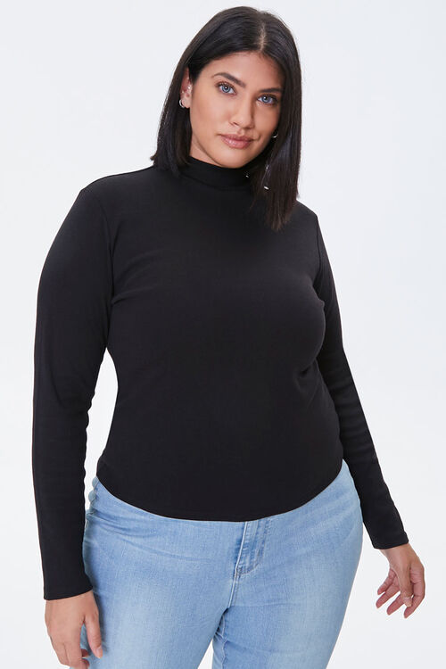 Plus Size Fitted Mock Neck Top, image 1