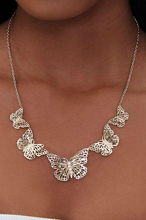 Butterfly Pendant Bib Necklace, image 1