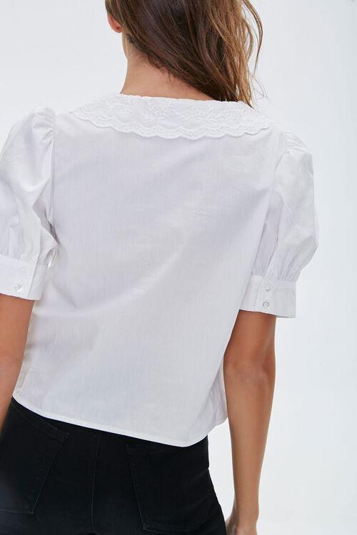 Crochet Lace Puff-Sleeve Shirt, image 3
