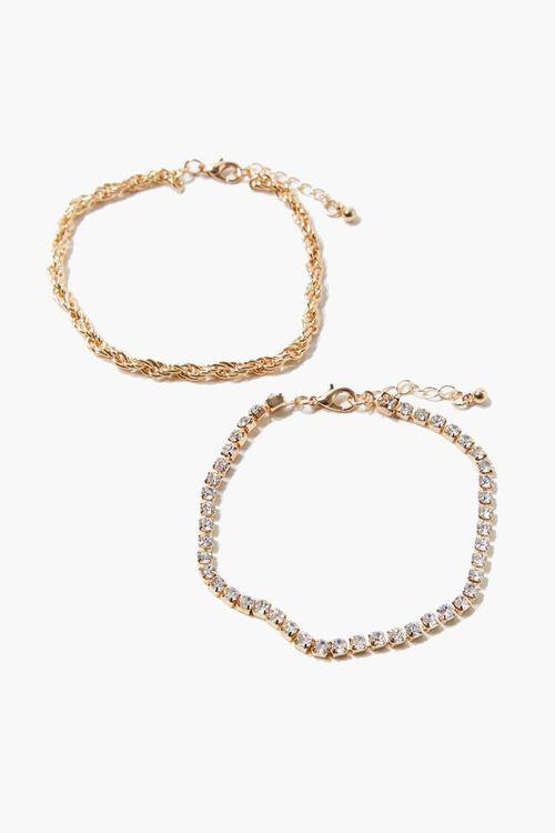 GOLD Twisted Rhinestone Anklet Set, image 1