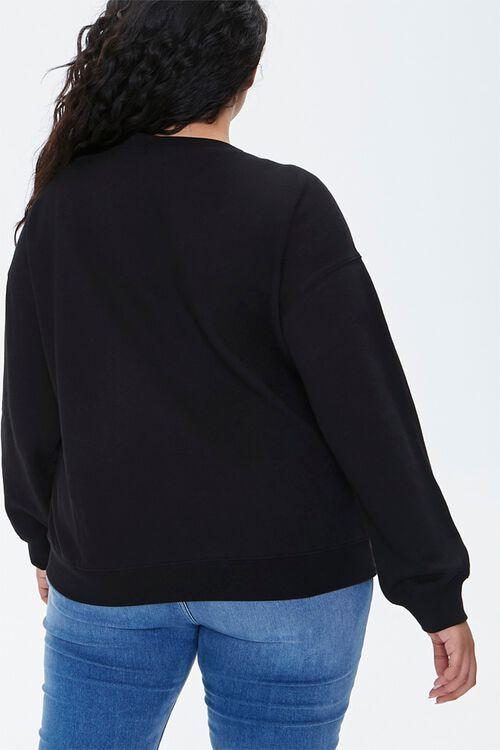 BLACK/MULTI Plus Size Embroidered Hugger Sweatshirt, image 3