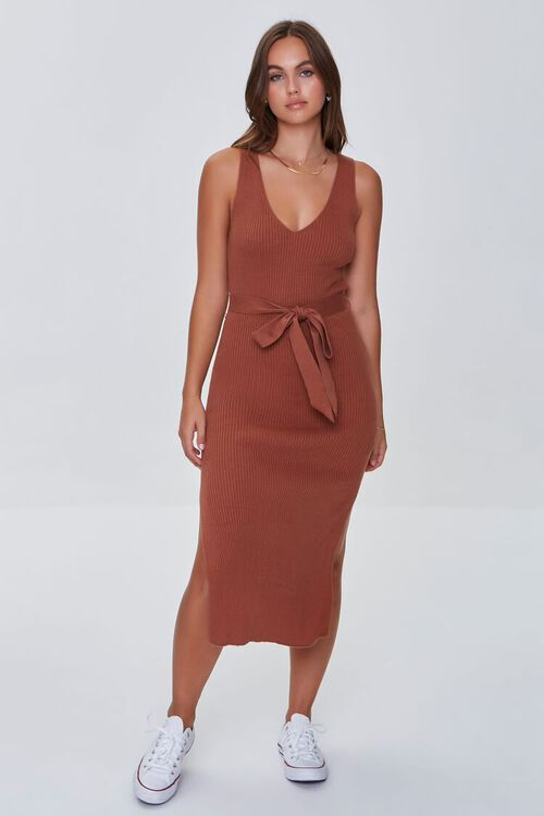 CHOCOLATE Belted Ribbed Bodycon Dress, image 4