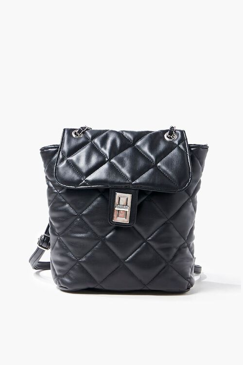 Quilted Faux Leather Backpack, image 1