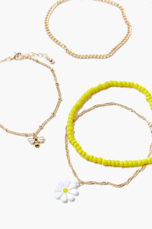 GOLD/MULTI Daisy & Bee Charm Anklet Set, image 1