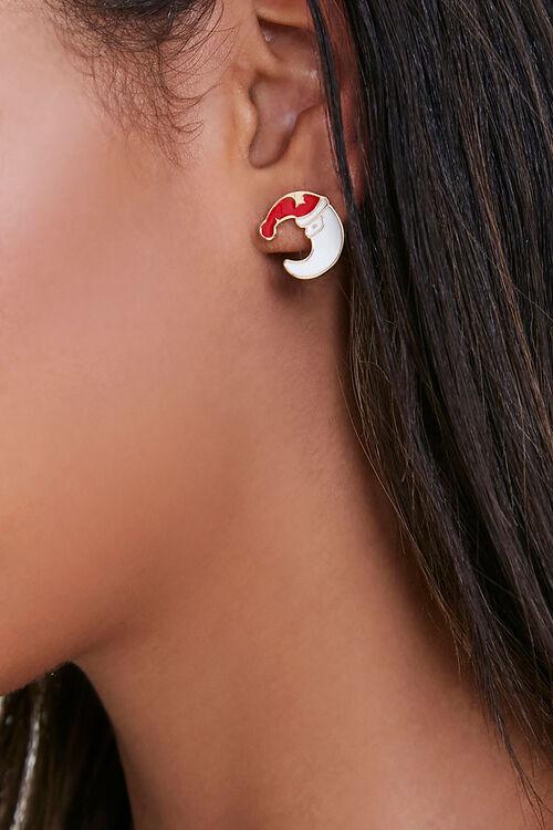Crescent Moon Santa Stud Earrings, image 1