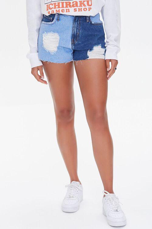 Colorblock Frayed Denim Shorts, image 2