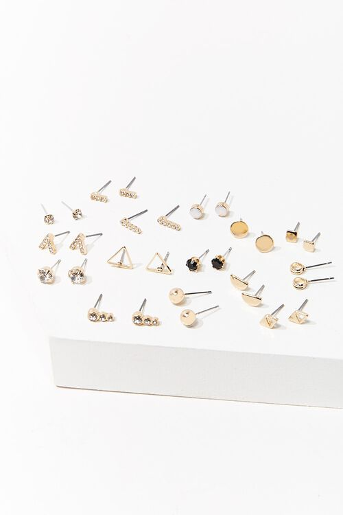 GOLD/CLEAR Assorted Stud Earring Set, image 1