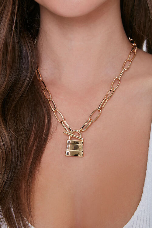 Lock Pendant Anchor Chain Necklace, image 1