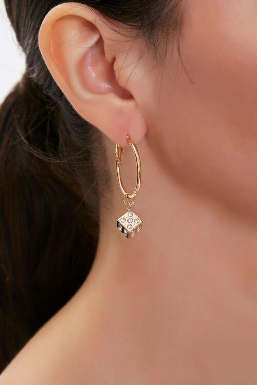 GOLD Dice Charm Drop Earrings, image 1