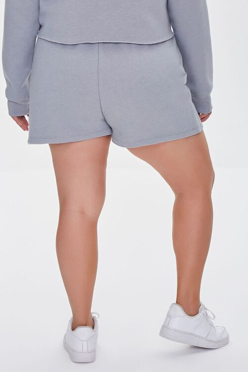 HEATHER GREY/BLUE Plus Size Fleece California Shorts, image 4