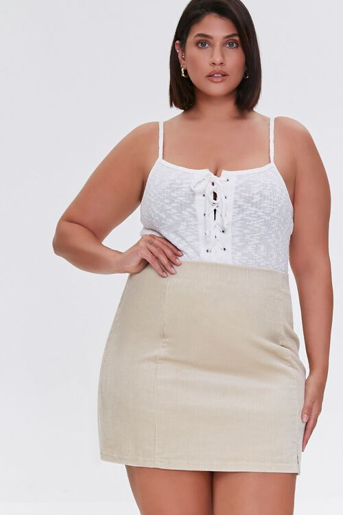 CREAM Plus Size Corduroy Mini Skirt, image 6