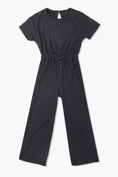 Girls Ribbed Self-Tie Jumpsuit (Kids), image 1