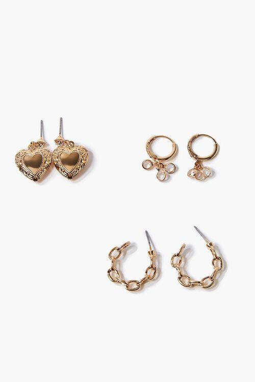 Variety Heart & Rhinestone Earring Set, image 1