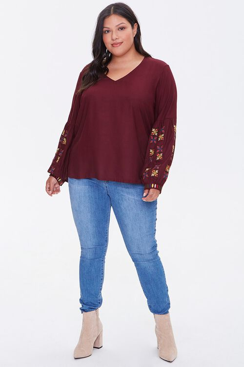 Plus Size Embroidered Peasant Top, image 4
