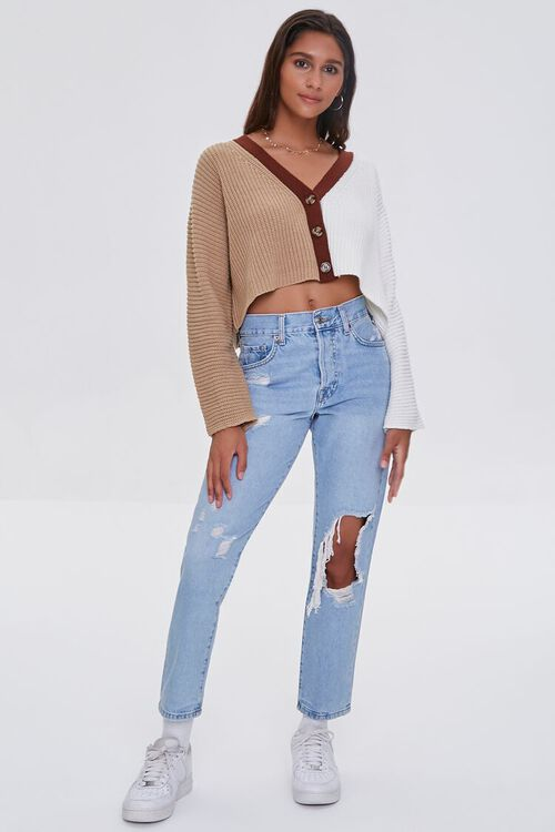 Cropped Colorblock Cardigan Sweater, image 4