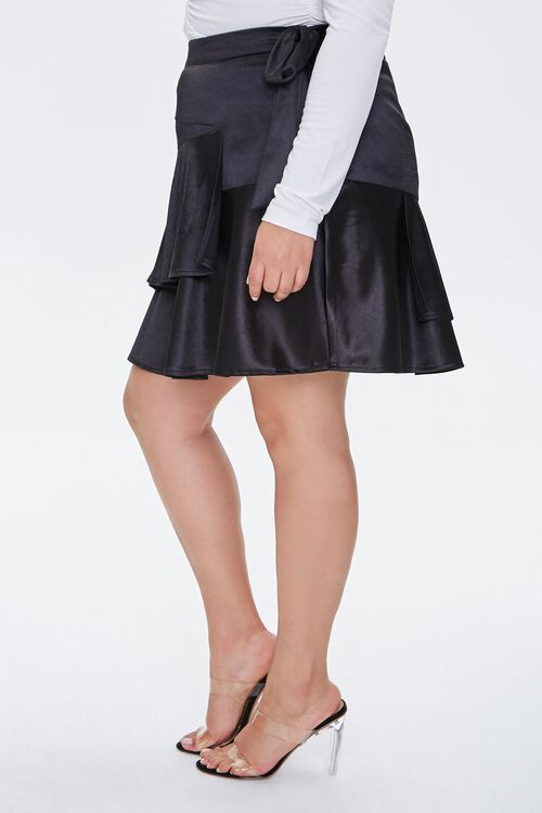 Plus Size Satin Ruffle Mini Skirt, image 3