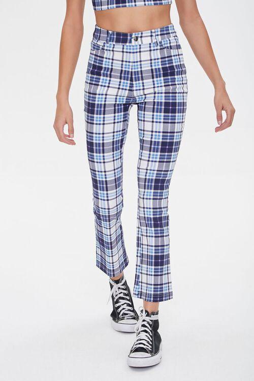 BLUE/MULTI Plaid Flare Ankle Pants, image 2
