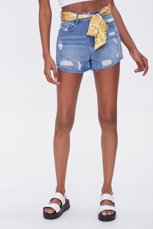Spotted Belt Denim Shorts, image 2