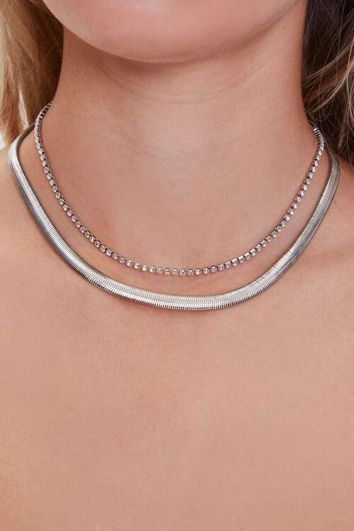 Rhinestone Serpentine Layered Necklace, image 1