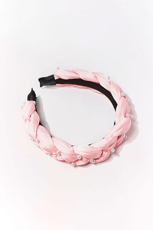 BLUSH/CREAM Braided Faux Pearl Headband, image 1