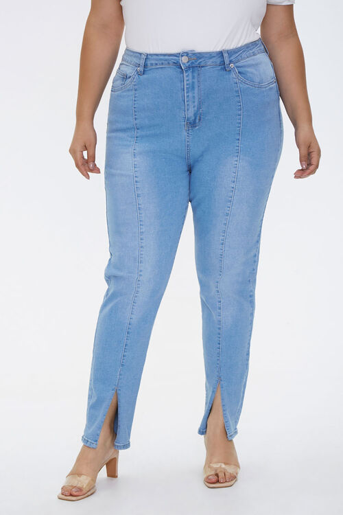 Plus Size Slit-Hem Ankle Jeans, image 2