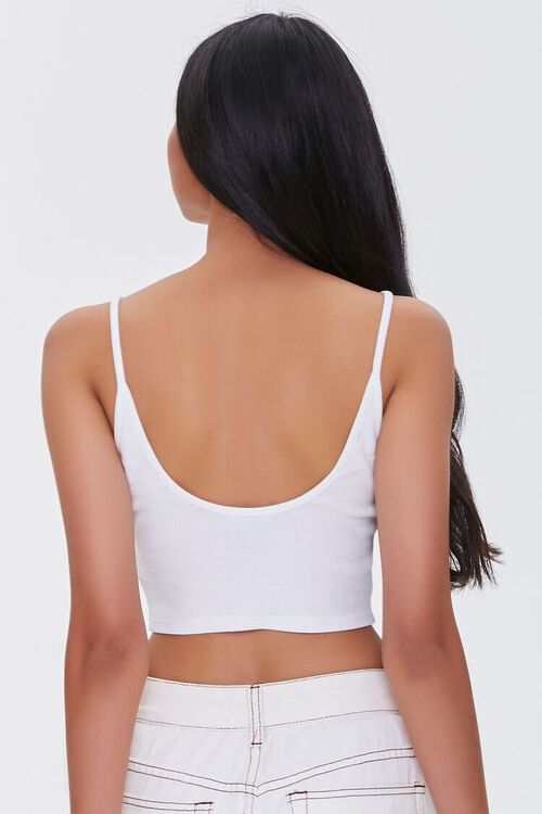 WHITE Ribbed Cropped Cami, image 3