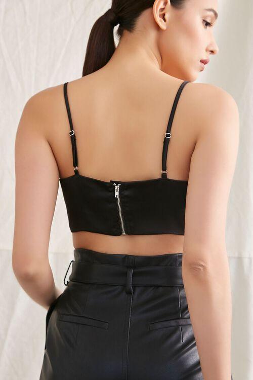 BLACK Satin Cropped Cami, image 3