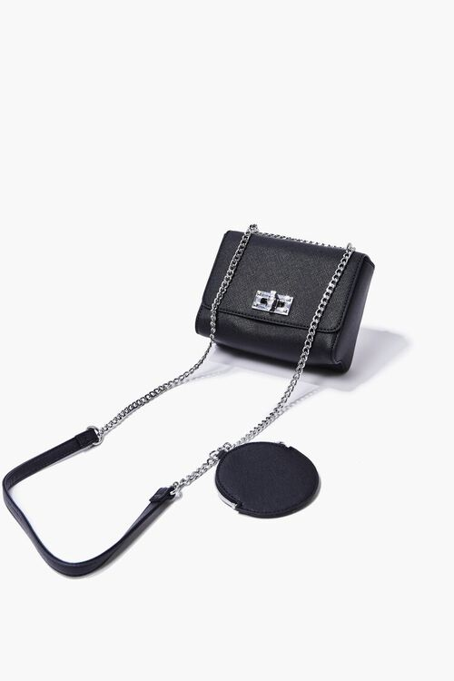 BLACK Faux Leather Crossbody Bag, image 4