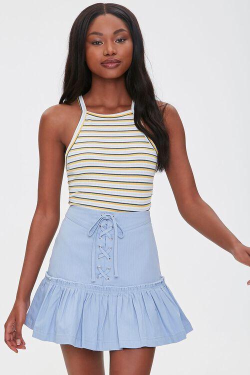 Lace-Up Flounce-Trim Skirt, image 1
