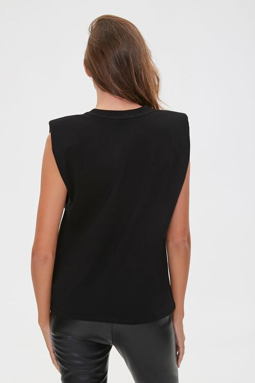 BLACK/TAUPE Face Graphic Embroidered Muscle Tee, image 3