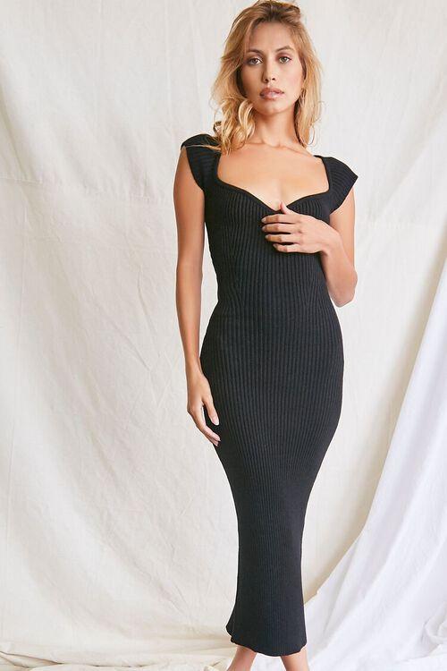 BLACK Sweater-Knit Ribbed Midi Dress, image 1