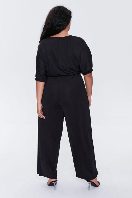 BLACK Plus Size Crop Top & Pants Set, image 4