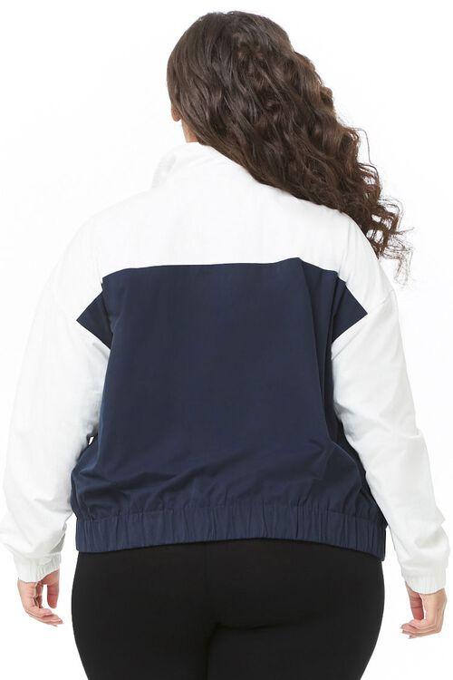 Plus Size Striped-Trim Colorblock Jacket, image 3