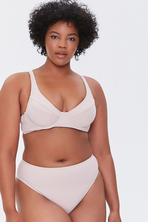 Plus Size Ribbed Bikini Bottoms, image 1