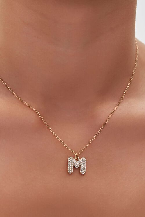 GOLD/M Rhinestone Initial Necklace, image 1