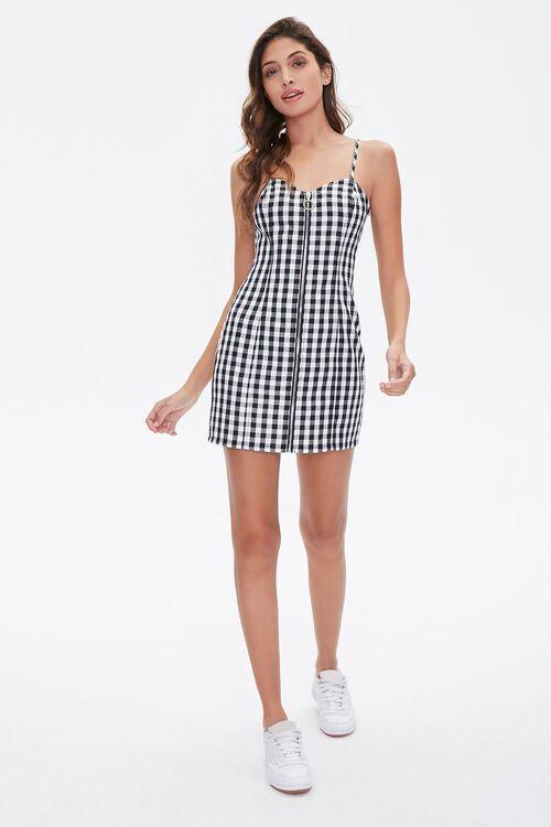 Gingham Zip-Up Cami Dress, image 4