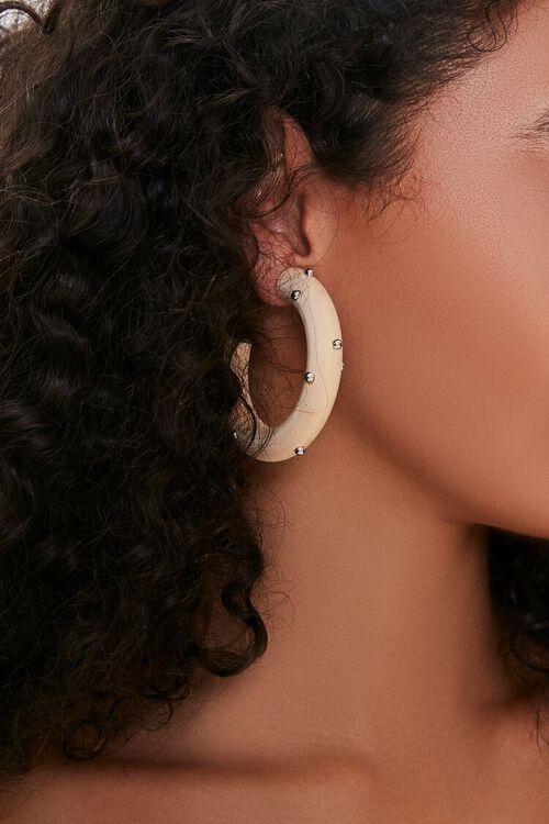 Studded Wooden Hoop Earrings, image 1