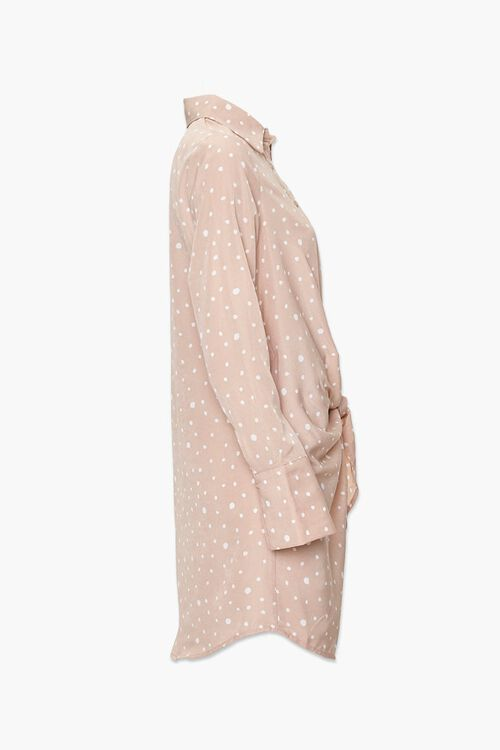 Knotted Polka Dot Shirt Dress, image 2