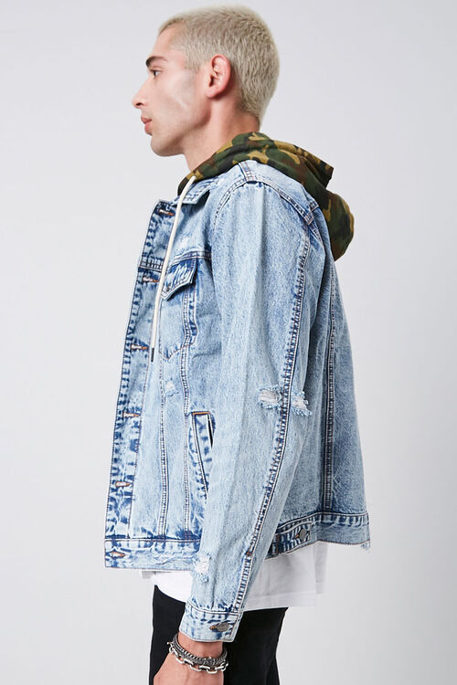 Camo Hooded Sunbleached Denim Jacket, image 2