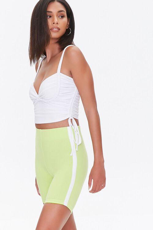 LIME/WHITE Side-Striped Biker Shorts, image 1