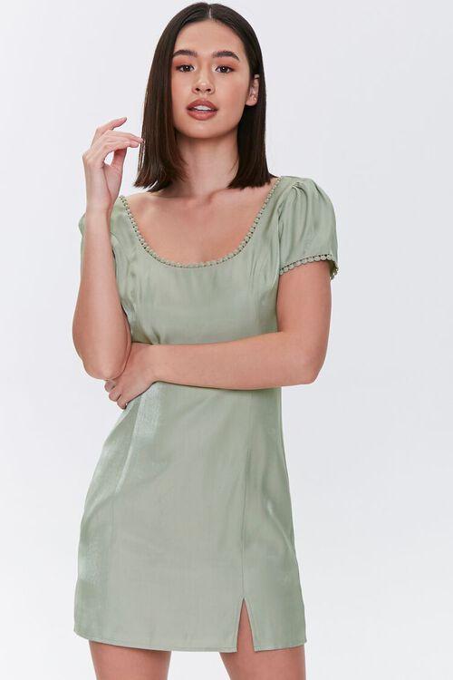Crochet-Trim Mini Dress, image 1