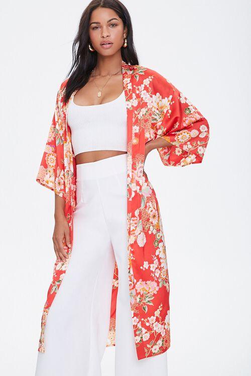 Satin Floral Kimono, image 1