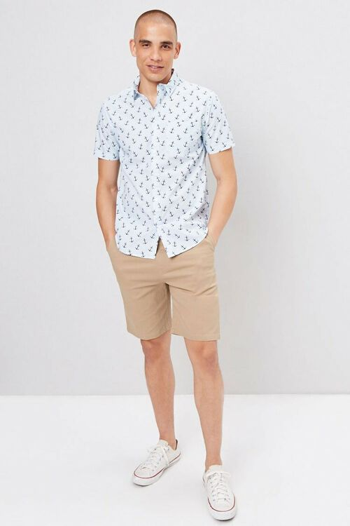Fitted Pinstriped Anchor Print Shirt, image 4