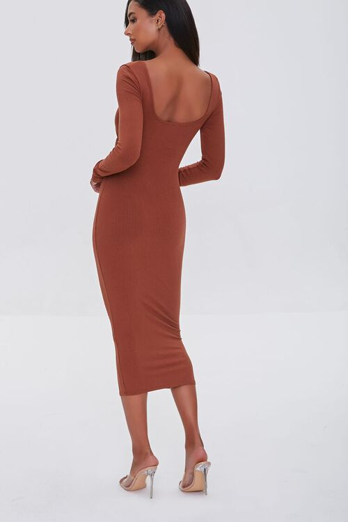 BROWN Cutout Midi Bodycon Dress, image 3