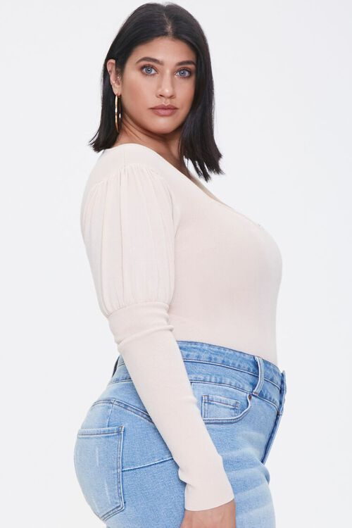 Plus Size Gigot-Sleeve Bodysuit, image 2